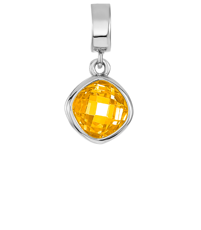 Silver charm with yellow CZ stone for use on DBW interchangeable charm bracelets.