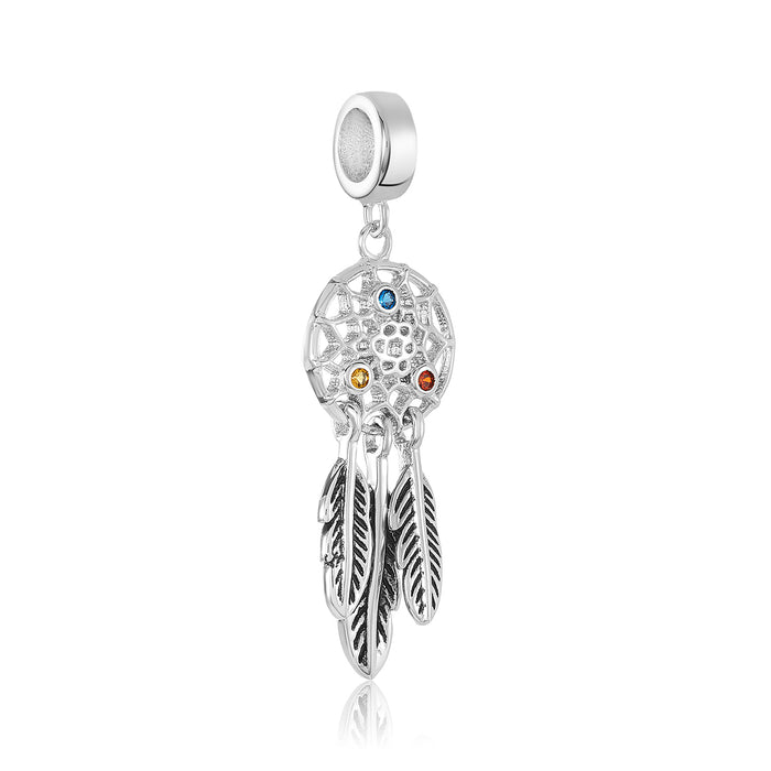 Silver dream catcher charm for use with DBW interchangeable charm bracelets.