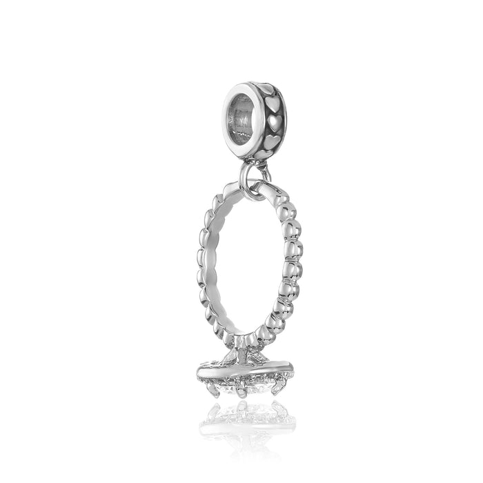 Silver engagement ring charm for use on DBW interchangeable charm bracelets.