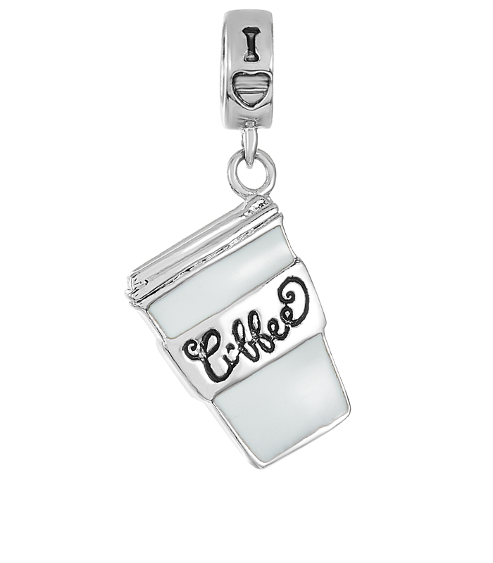 Silver coffee cup charm for use with DBW interchangeable bracelets.