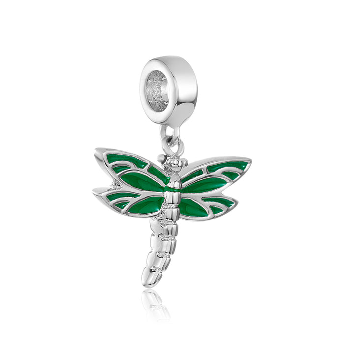Green and silver dragonfly DBW charm.