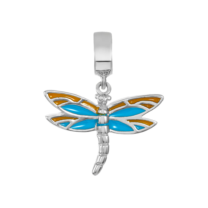 Teal & Yellow Dragonfly Charm