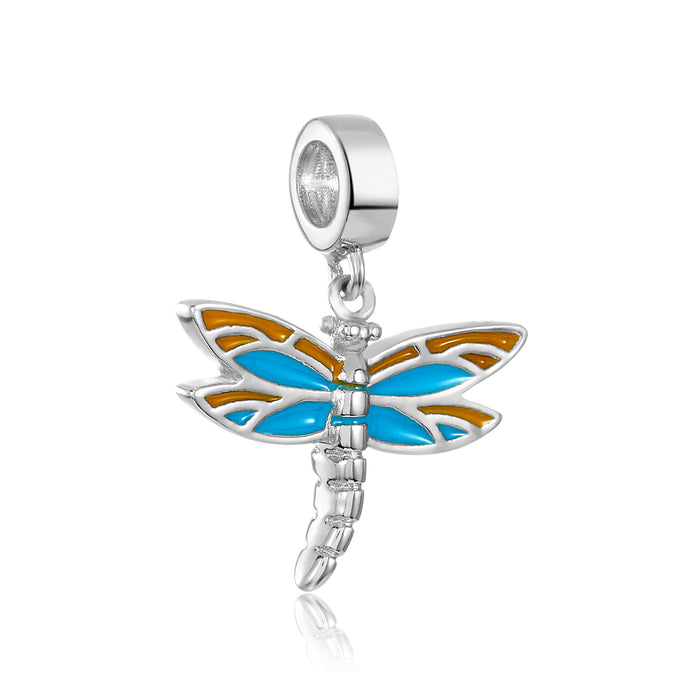 Silver, teal and yellow dragonfly charm for use with DBW interchangeable bracelets.