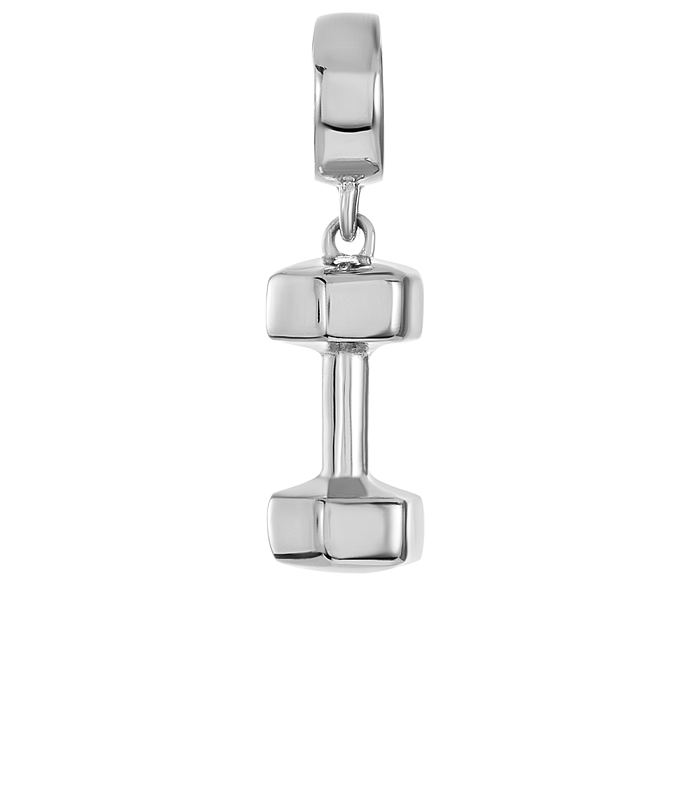 Silver dumbbell charm for use with DBW interchangeable charm bracelets.