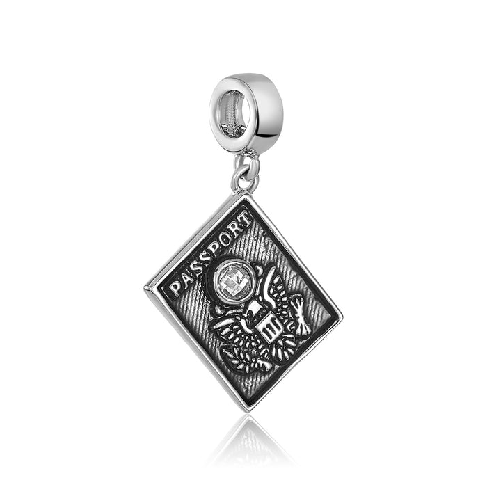 Silver passport charm for use with DBW interchangeable charm bracelets.
