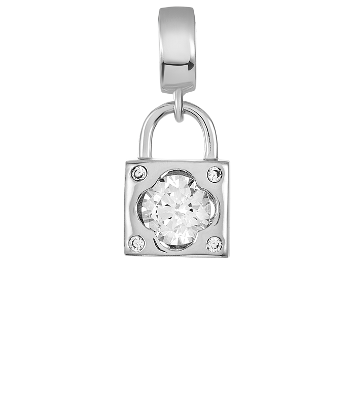 Silver lock charm with large CZ stone for DBW interchangeable charm bracelets.