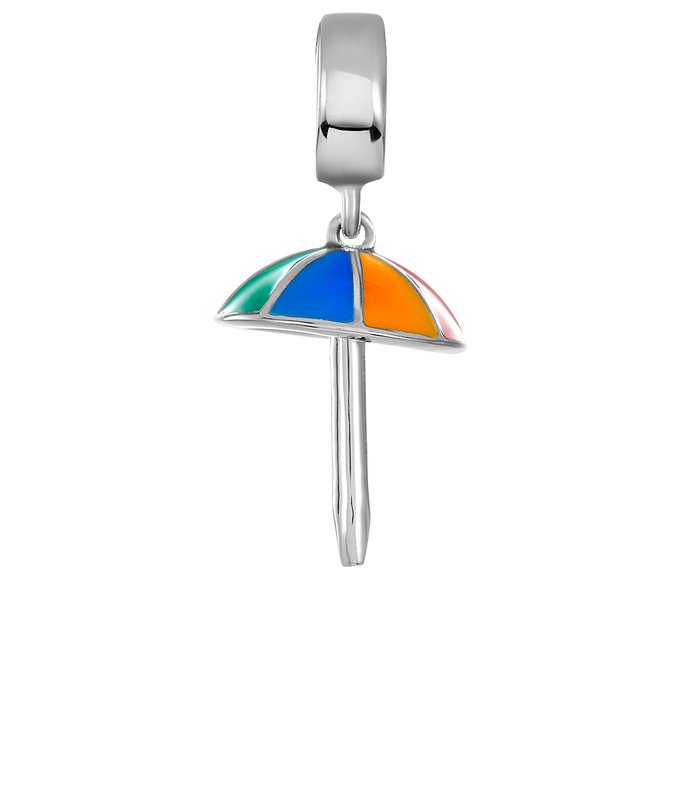Silver beach umbrella charm for use with DBW interchangeable bracelets.