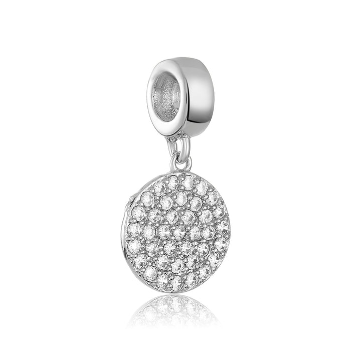 Silver charm with a circle of CZ stones for use with DBW interchangeable charm bracelets.