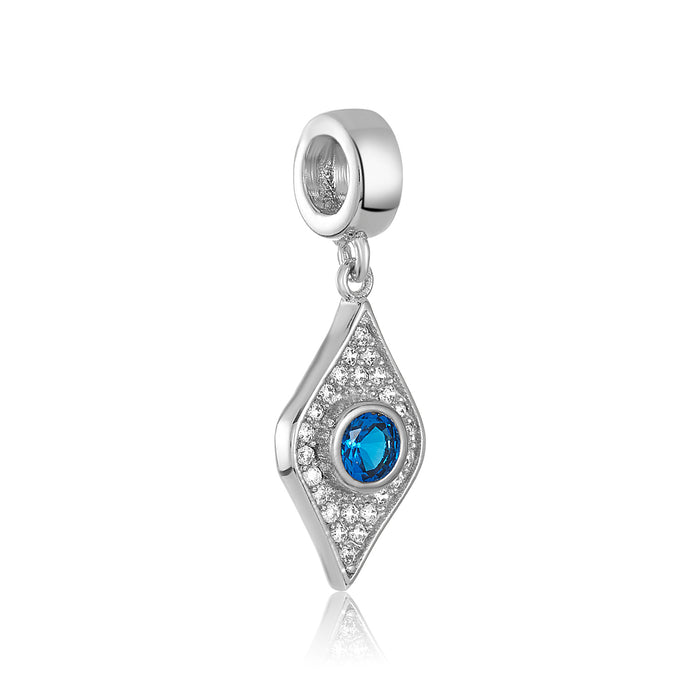 Silver eye shaped charm with blue and clear CZ stones for use on DBW interchangeable charm bracelets.