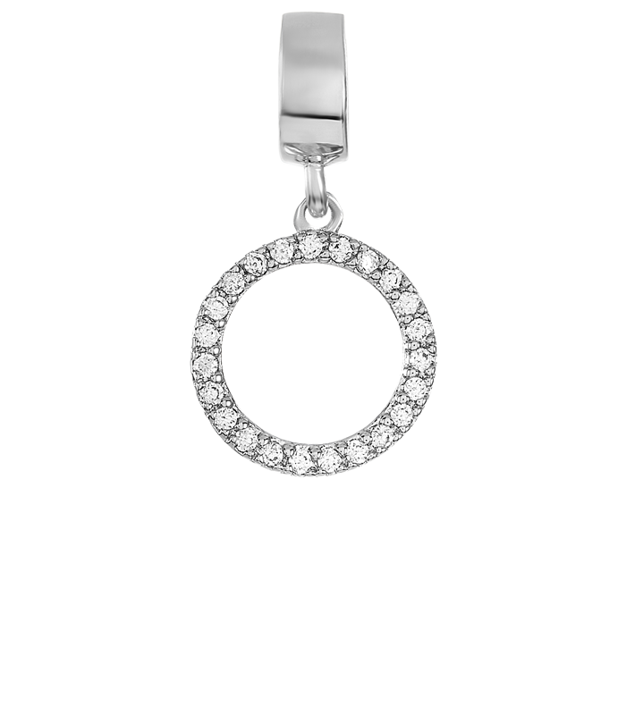 Silver open circle charm with a circular row of clear CZ stones.