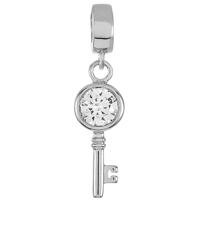 Silver key charm with large CZ stone for use with DBW interchangeable charm bracelets.