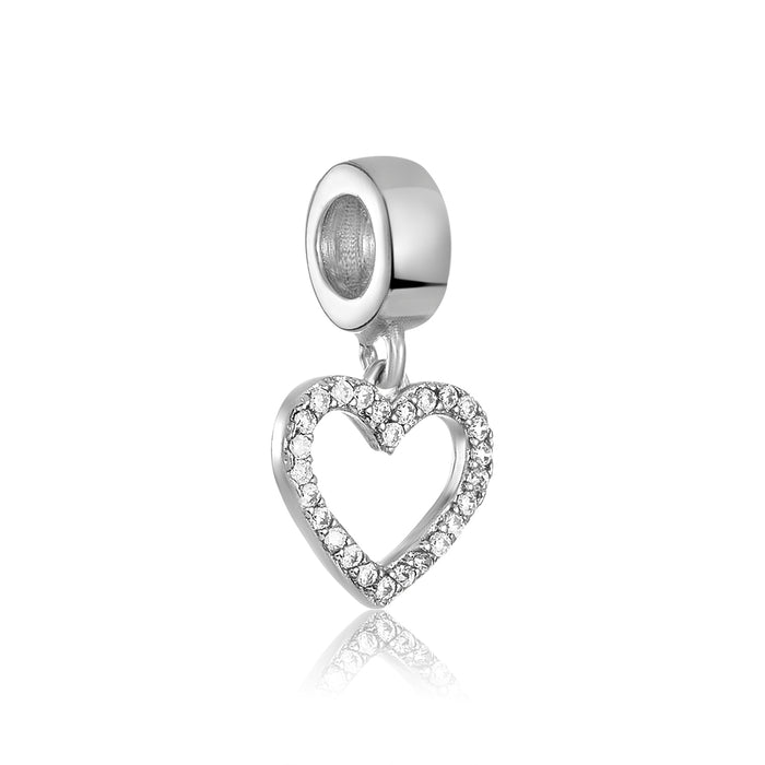 Silver open heart charm with CZ stones for use on DBW interchangeable bracelets.