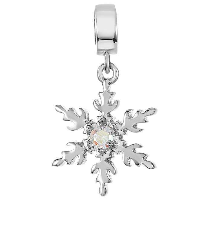 Silver snowflake charm for use on DBW interchangeable charm bracelets.