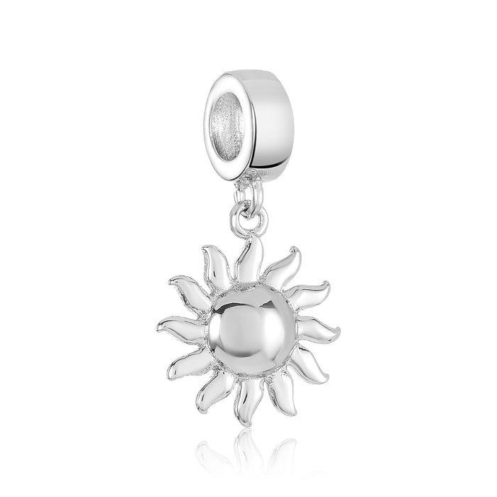 Silver sun charm for use with DBW interchangeable charm bracelets.