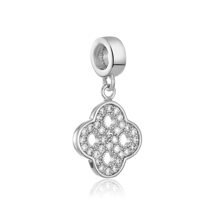 Silver open clover charm for use with DBW interchangeable charm bracelets.