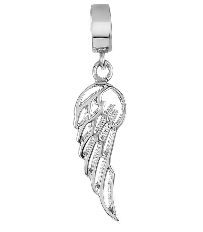 Silver angel wing charm for use with DBW interchangeable bracelets.