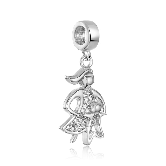 Silver mother's love charm for use with DBW interchangeable charm bracelets.