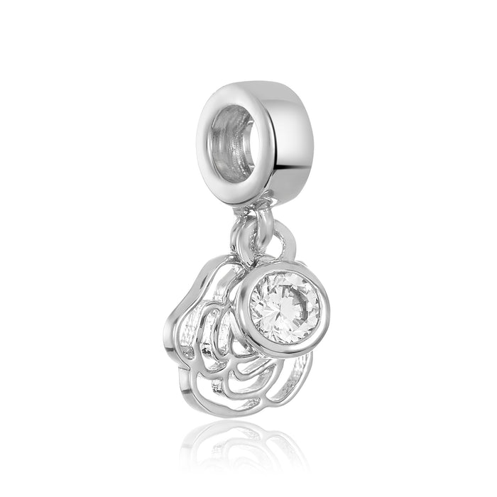 Silver open rose shaped charm for use with DBW interchangeable charm bracelets.