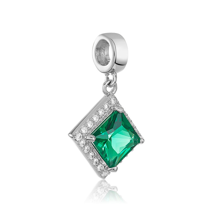 Green & clear CZ stone diamond-shaped charm for use on DBW interchangeable charm bracelets.