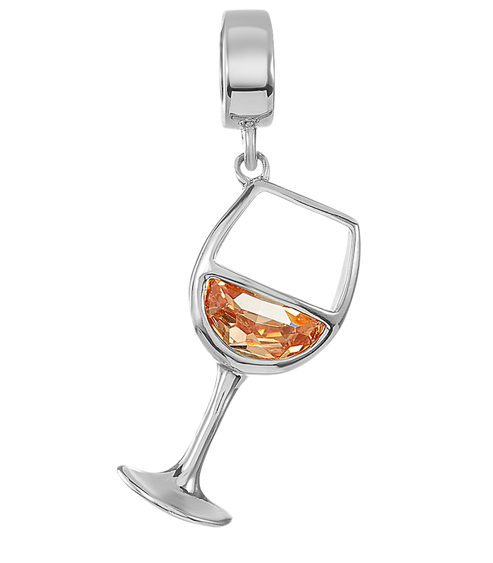 Silver white wine charm for use on DBW interchangeable charm bracelets.