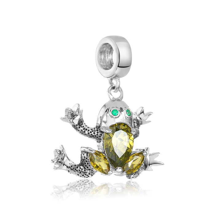 Silver frog charm for use on DBW interchangeable charm bracelets.