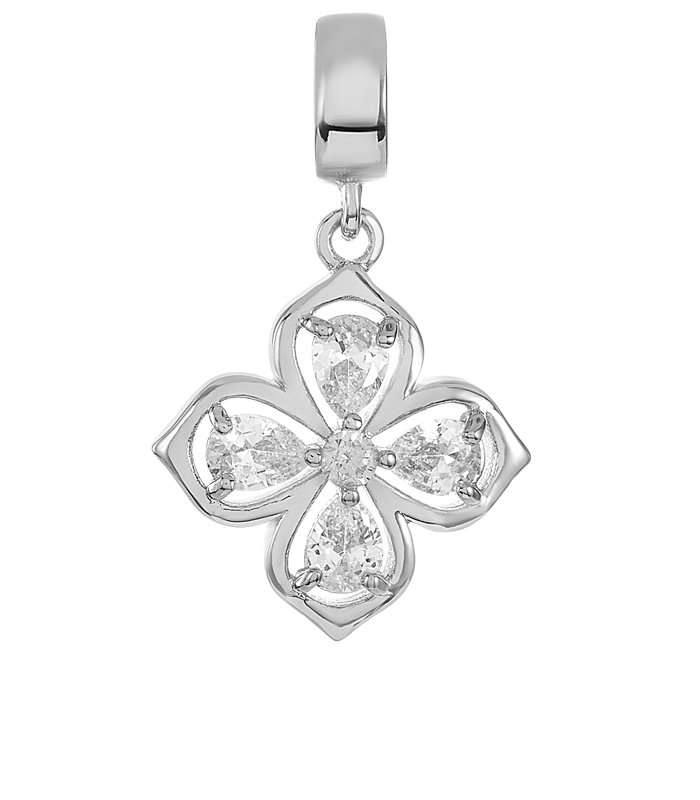 Silver clover shaped DBW charm with four clear CZ stones.