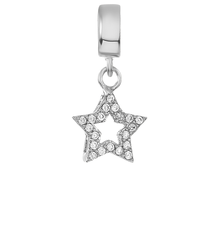 Silver open star charm for use on DBW interchangeable charm bracelets.