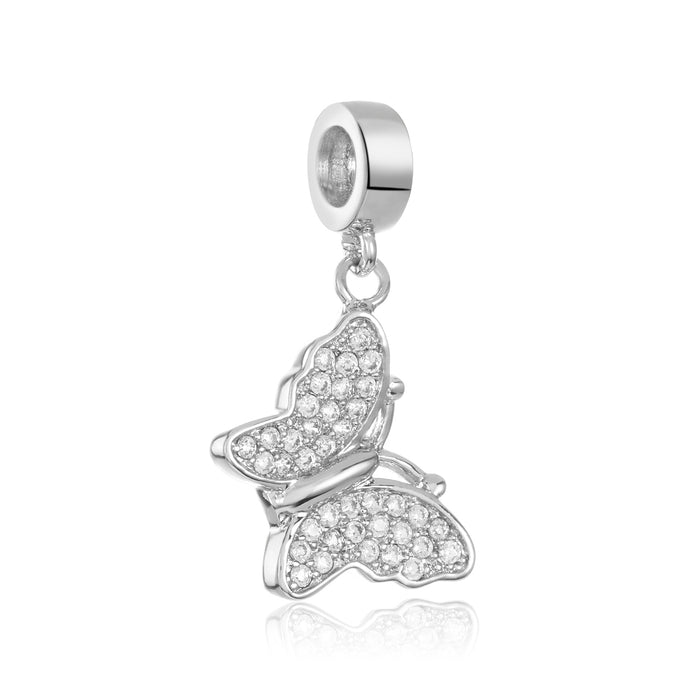 Silver pave butterfly charm for use with DBW interchangeable bracelets.