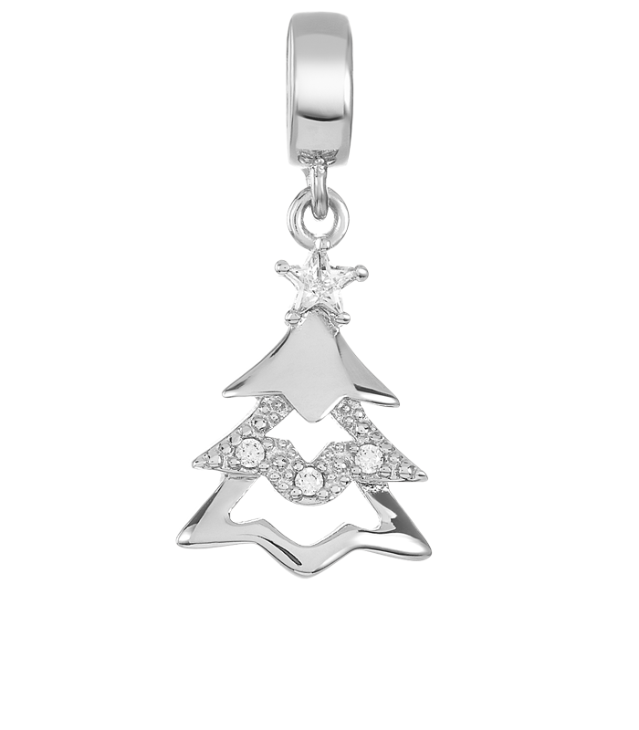 Silver Christmas tree charm for use with DBW interchangeable charm bracelets.