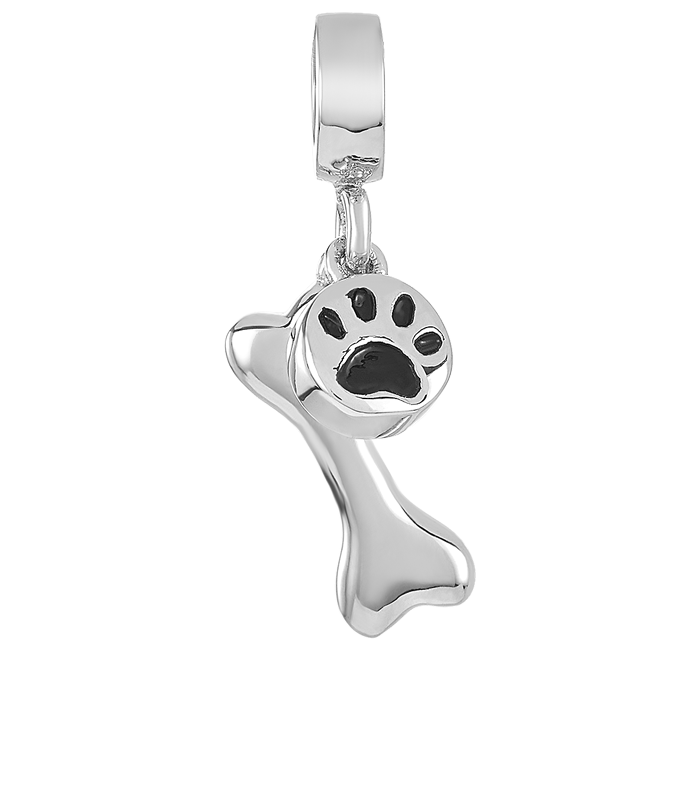 Silver dog bone charm for use with DBW interchangeable charm bracelets.