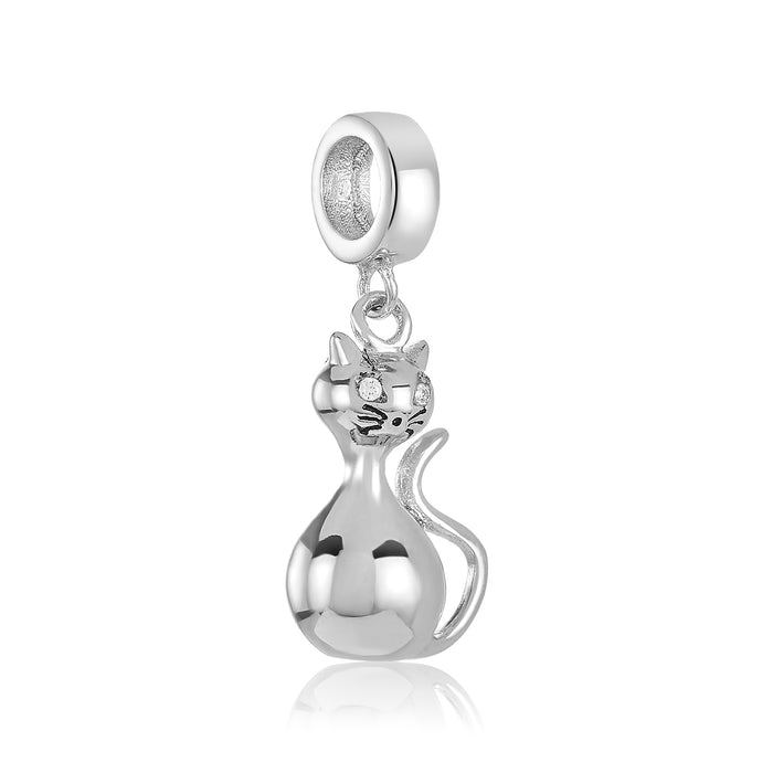 Silver cat charm for use with DBW interchangeable charm bracelets.