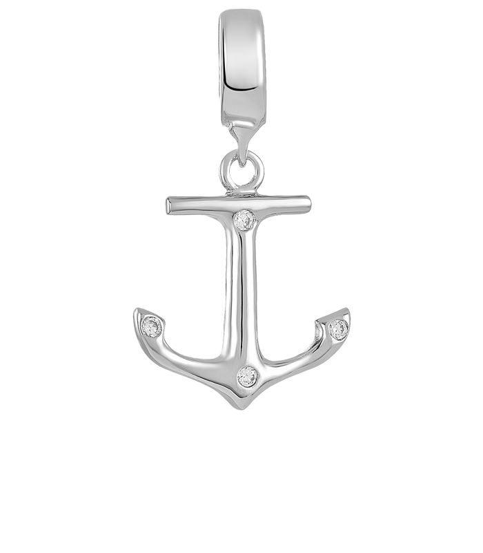 Silver anchor charm for use with DBW interchangeable bracelets.