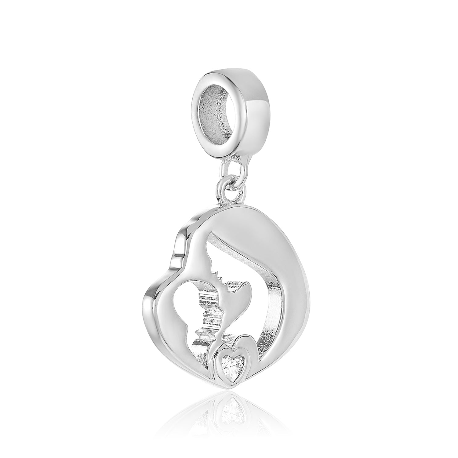 Silver mother and child charm for use with DBW interchangeable charm bracelets.
