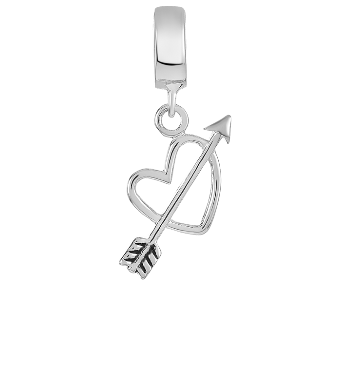 Silver heart and arrow charm for use with DBW interchangeable charm bracelets.