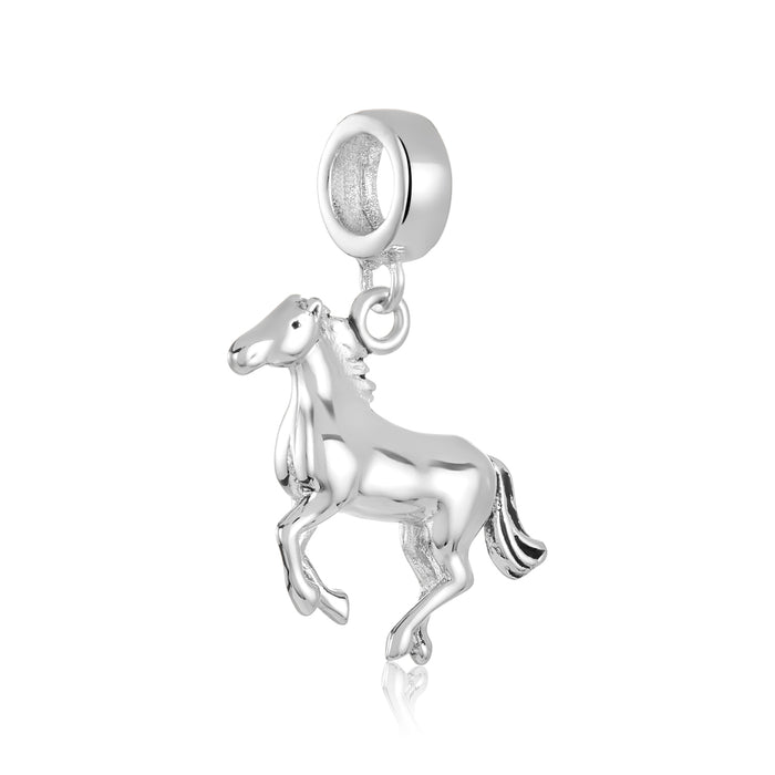 Silver horse charm for use with DBW interchangeable charm bracelets.