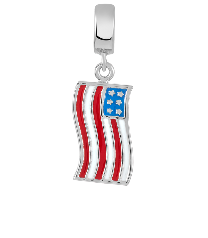 American flag charm to be used with DBW interchangeable bracelets.