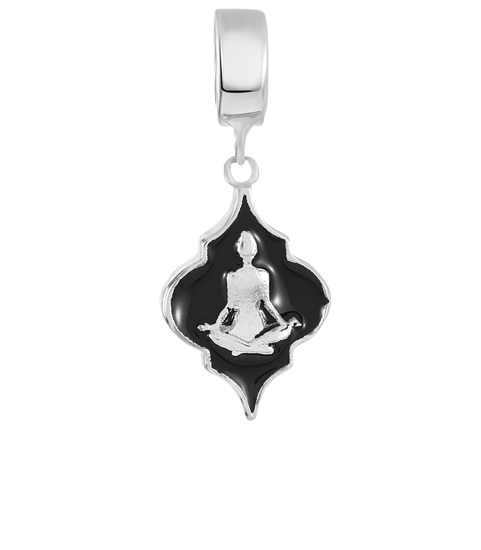 Black and silver yoga inspired DBW charm.