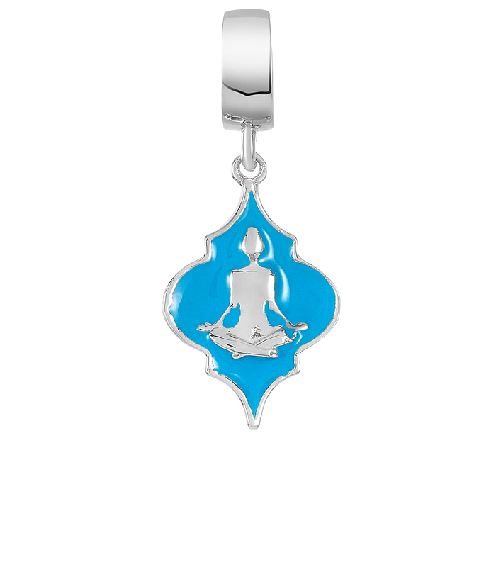 Blue and silver yoga inspired DBW charm.