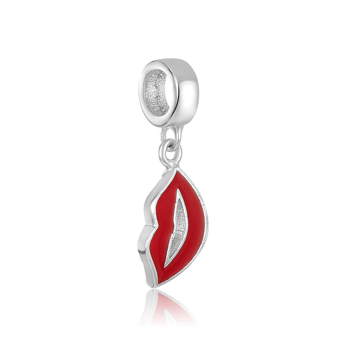 Red lips shaped silver charm for use with DBW interchangeable charm bracelets.