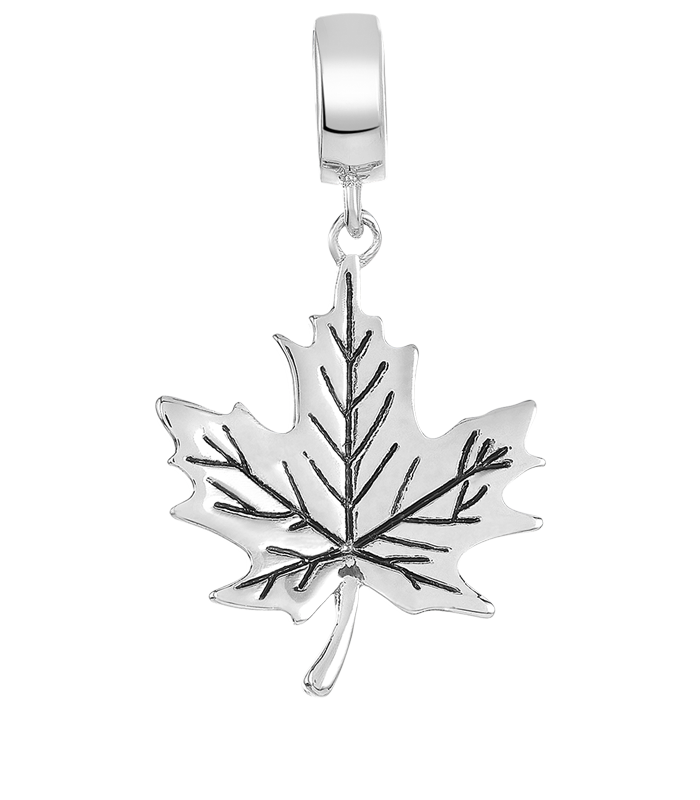 Silver leaf charm for use with DBW interchangeable charm bracelets.