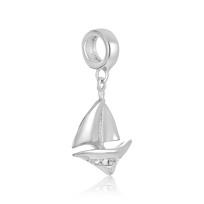 Silver sailboat charm for use on DBW interchangeable charm bracelets.