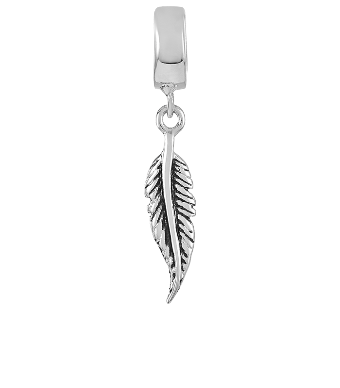 Silver antiqued feather charm for use with DBW interchangeable bracelets.