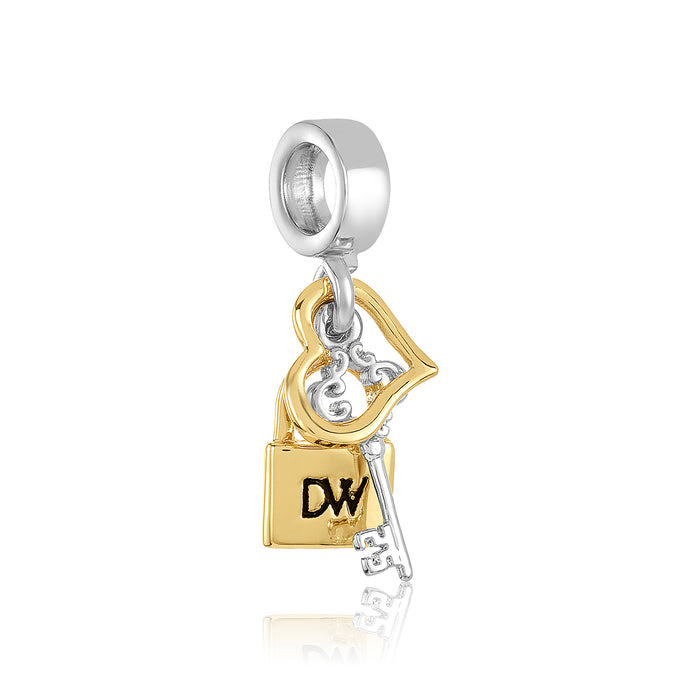 Gold & silver lock and key charm for use on DBW interchangeable charm bracelets.