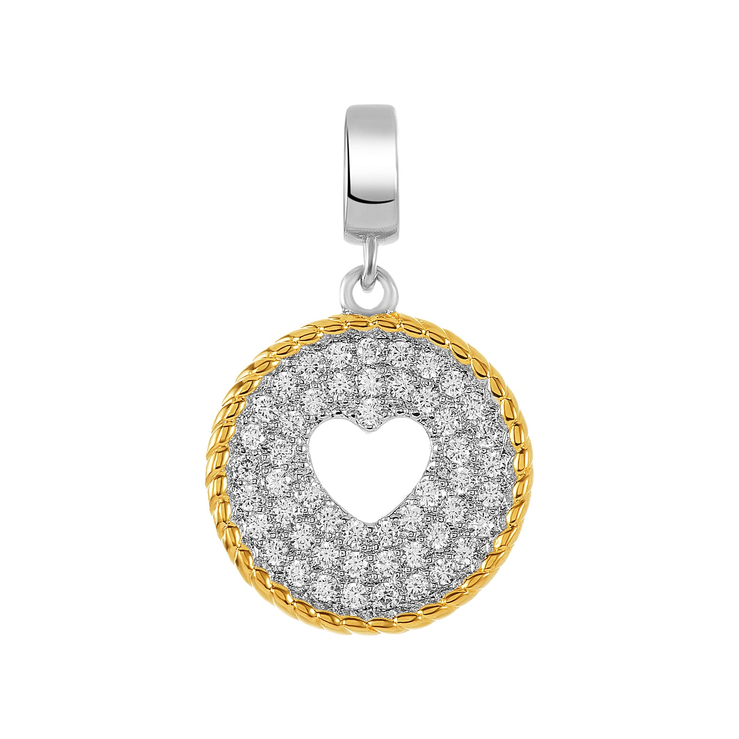 Two-Tone Cutout Heart Charm