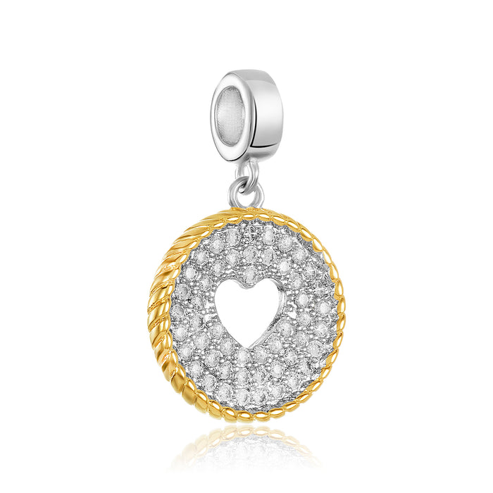Two-toned (silver & gold) open heart charm for use with DBW interchangeable charm bracelets.