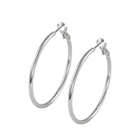 30mm rhodium finish hoop earrings
