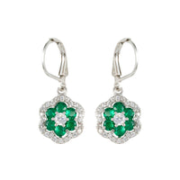 Emerald Flower Earring