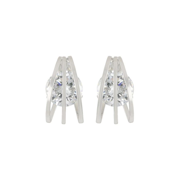 Cage Setting Stud Earring
