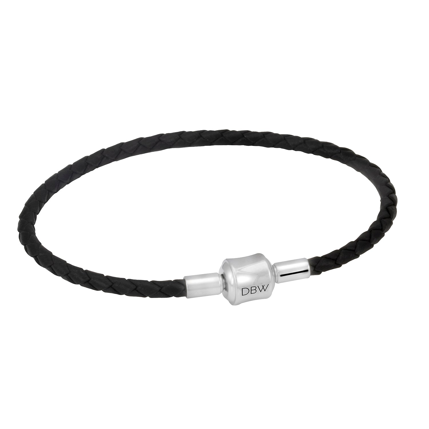 Single Leather Wrap Charm Bracelet in Black