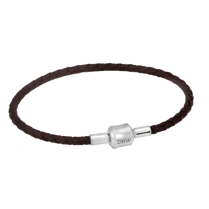 Single Leather Wrap Charm Bracelet in Brown